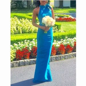 Alfred Sung- high neck bridesmaid dress in blue
